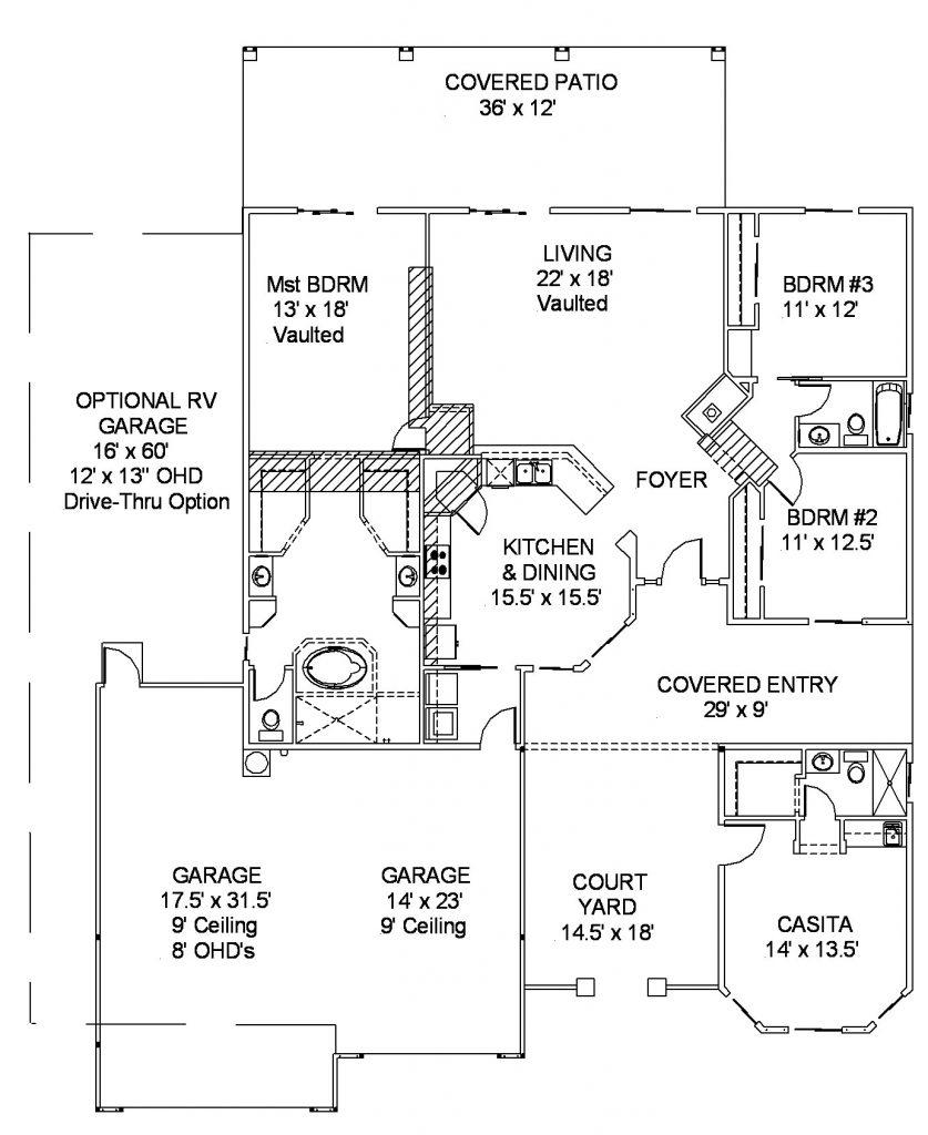 Palo verde v with casita dbu homes for Palo verde homes floor plans